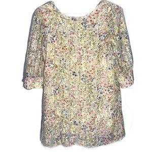 Zara Basic Floral Garden Long Sleeve Dress